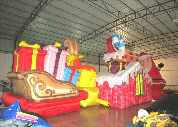 waterproof pvc inflatable christmas decorations strong fabric inflatable santa claus for decoration