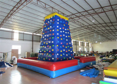 China Commercial  Kids Inflatable Rock Climbing Wall Fireproof PVC Tarpaulin 7 X 7 X 7m factory