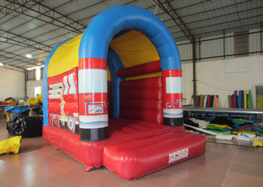 China Small Size Firefighting Car Kids Inflatable Bounce House With Arc Roof 3x4m distributor
