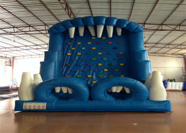 China Blue Rock Climbing Bounce House 6 X 4m , Commercial Inflatable Ladder Climb factory