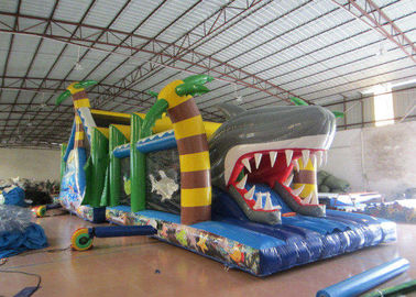 China White Shark Inflatable Obstacle Courses Silk Printing 14 X 4m With Palm Trees distributor