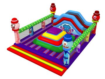 Square Shape Inflatable Sports Games Monsters Themed Soft Air Mountain With Big Slide Inside