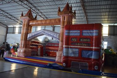 China PVC Red Wide Inflatable Bus House Jumping Castle For Kids Entertainment Eco - Friendly distributor
