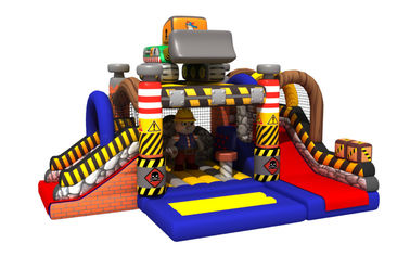 China Construction Builder Combo Jumping House / Double Slides Inflatable Bouncy House distributor