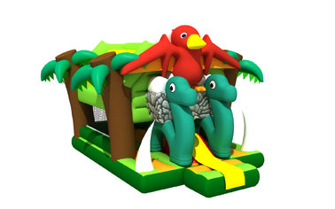 China Bird Combo Forest Snake Themed Kids Inflatable Bounce House / Colourful Inflatable Dino Jumping House distributor