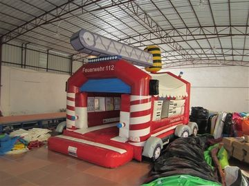 Commercial Outdoor Wide Inflatable Jump House / Fire Truck Bouncer Colourful Inflatable Fire Engine Jumping