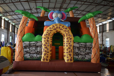 Inflatable Safari Park Bouncy Slide / PVC Inflatable Elephant Bouncer Colourful
