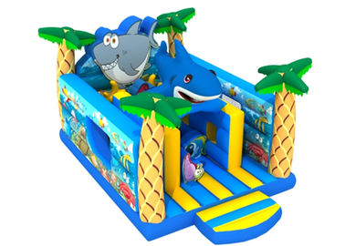 PVC 0.55mm Ocean Themed Shark 4.5x7x4m Inflatable Jumping Castle