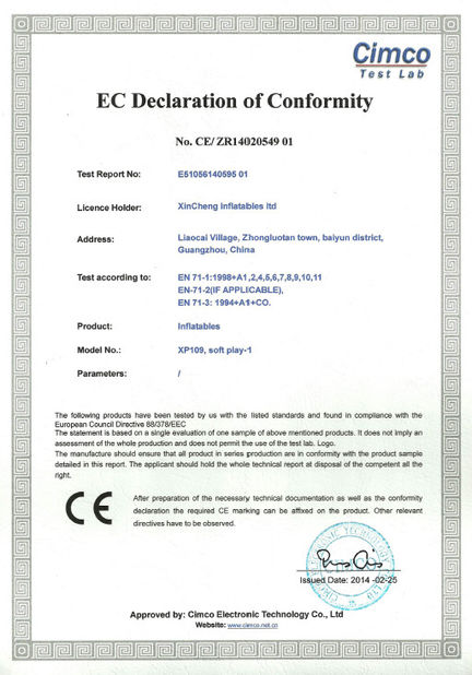 China Xincheng Inflatables ltd Certifications
