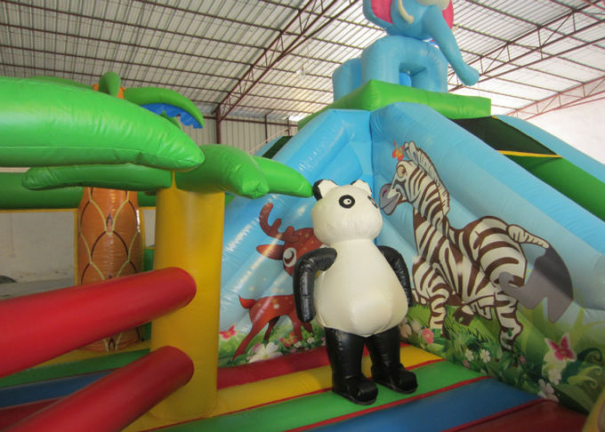Hot sale inflatable elephant themed fun city inflatable safari park jumping house with slide on sale