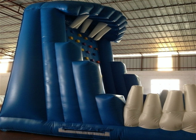 Blue Rock Climbing Bounce House 6 X 4m , Commercial Inflatable Ladder Climb