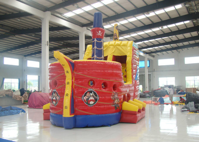 Outdoor Game Colourful Inflatable Pirate Ship Bouncer House Waterproof 8 X 4 X 5m