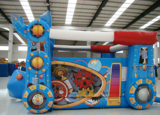 Robot Design Bounce House With Slide , Commercial Castle Bounce House 5.7 * 4.7 * 3.7
