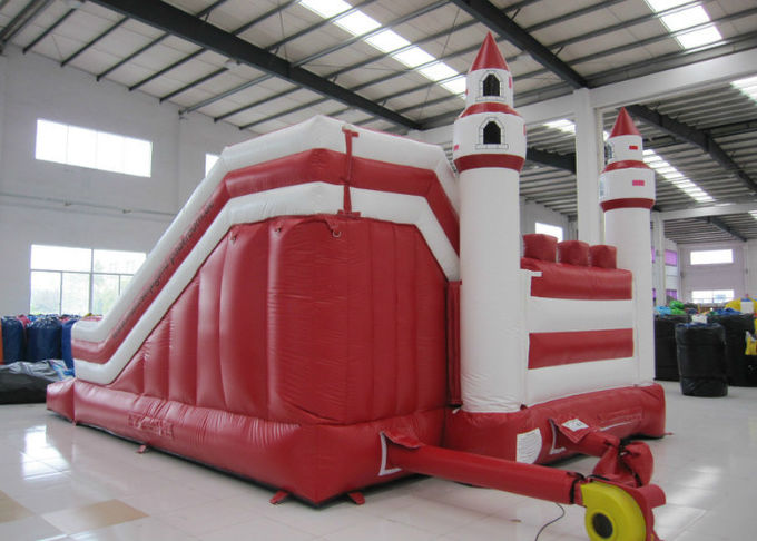 Simple inflatable jumping castle PVC material red color inflatable bouncer house with slide inflatable bouncy combo
