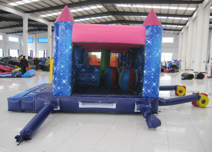 Commercial Cartoon Inflatable Obstacle Courses Digital Printing 10 X 4m Enviroment - Friendly