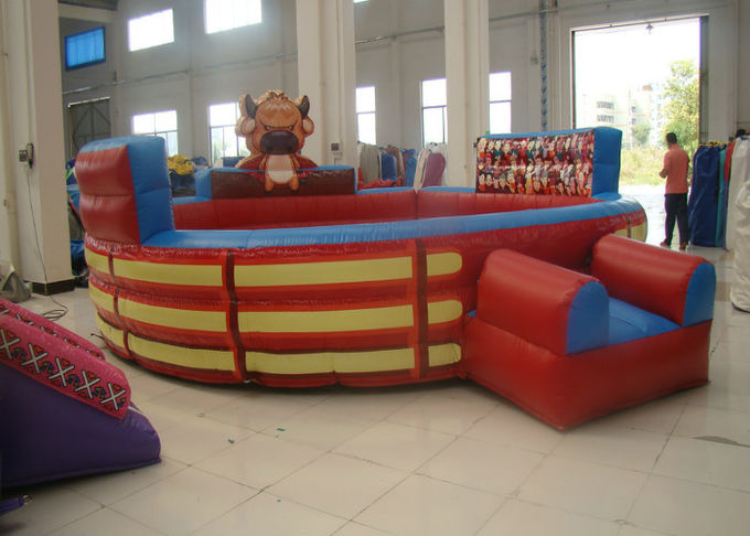 Attractive Inflatable Rodeo Bull , Funny Theme Inflatable Bull Ride Digital Printing
